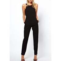 Stylish Round Collar Solid Color Cut Out Sleeveless Jumpsuit For Women | Kitty's Clawset