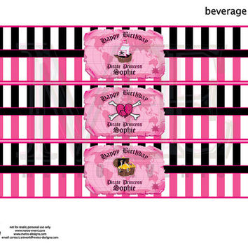 Pirate Girl Water Bottle Labels, Pirate Party Decorations, Girl's Pirate Party Labels, Pirate Birthday, Pirate Party Supplies, Pink Pirate