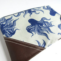 Blue Octopus clutch | Nautical wristlet | Octopus makeup bag | Nautical zipper pouch