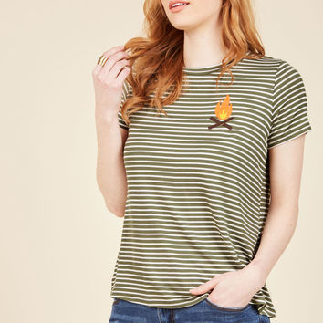 Dapper Day Off Striped Top in Campfire | Mod Retro Vintage Sweaters | ModCloth.com