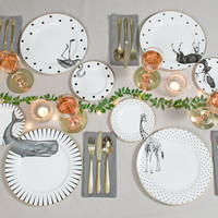 Monochrome Animal Plate Set