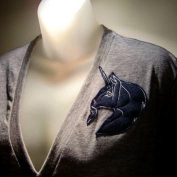 The Unicorn Invasion Deep Vneck Tshirt in Navy
