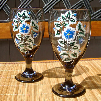 Hand Painted Black Glasses With Blue And White Flowers
