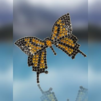 Butterfly Pin Movable Wings with Jet and Topaz Swarovski Stones by Albert Weiss