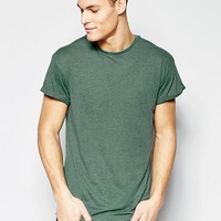 New Look   New Look Rolled Sleeve T-Shirt In Green at ASOS