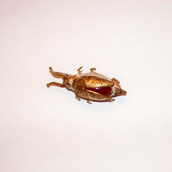 Vintage Damascene Beetle Spanish Brooch Scarab Enamel Spain Pin Costume Jewelry