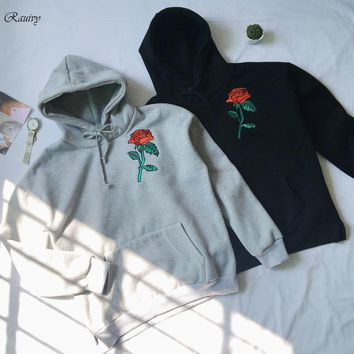 2017 hoodies women embroidery roses