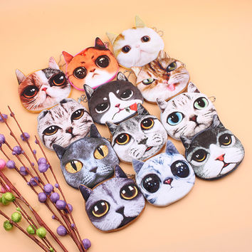 Cat Face Zipper Purse for Female and children