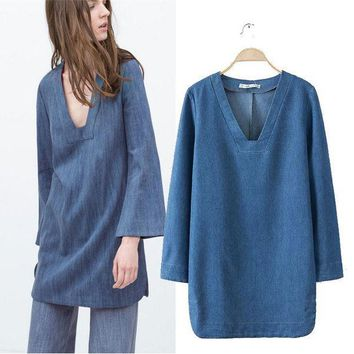 PEAPIX3 Stylish V-neck Long Sleeve Simple Denim Women's Fashion One Piece Dress [4918980612]