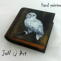 Book box Hedwig Owl Hand Painted Harry Potter Hogwarts small Jewelry box Wizard World Magic Keepsake Box White Owl Gift Wedding Art Rowling
