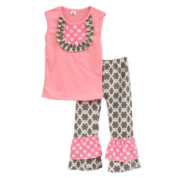 Giggle Moon Girls Pink Outfits Sleeveless Bib Top Double Ruffle Pants Boutique Kids Kintted Cotton Summer Clothing Sets S076