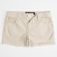 Scissor Fray Edge Girls Denim Shorts Khaki  In Sizes