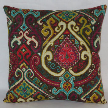 """Colorful Medallion Pillow, Waverly Fabric, Brown Magenta Turquoise Fuchsia Gold, 17"""" Cotton Sq, Ready Ship,  Cover Only or Insert Included"""