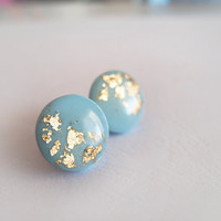 Blue Gold Round Stud Earrings - Bridesmaide Gift - Hipoallergenic Surgical Steel Post