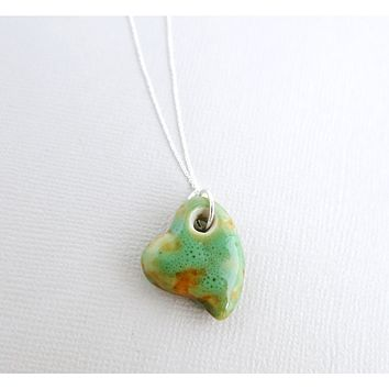 Sea foam Green Porcelain Ceramic Heart Pendant Necklace .925 Sterling Silver - 18 inch necklace - Boho Distressed Green Honey Ceramic Heart