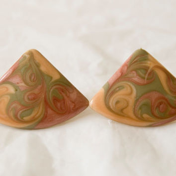 Vintage Clip On Earrings Swirly Paint Resin Like Triangles Red Green Brown Tones Gold Earrings