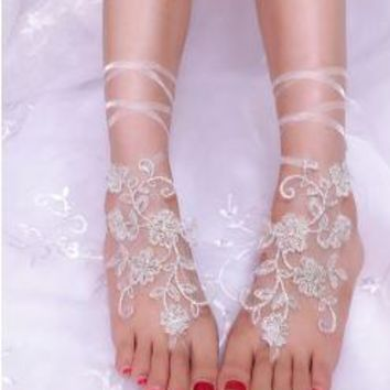 Handmade Lace Flower Barefoot Sandals for Bride or Wedding Party