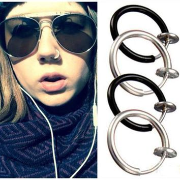 ac PEAPO2Q Goth Septum Punk Style Fake Piercing Clip on Hoop Boby Lip Nose Rings Body Jewelry Unisex Ear Piercing Earrings 3 Colors Pick