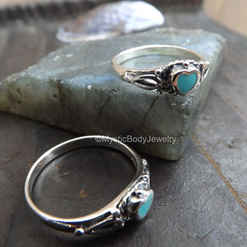 Turquoise Ring .925 Genuine Sterling Silver Heart Shape Size 6 7 8 9 Blue Natural Gemstone Birthstone Hearts Small Rings Body Jewelry Gem