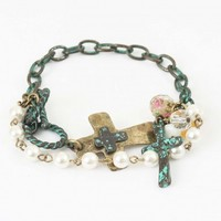 Pearl and Turquoise Brushed Bracelet   Altar'd State