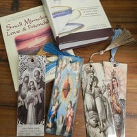 Four Religious Laminated Bookmarks Book Lover Gift Virgin Mary Bookmarks Christian Bookmarks