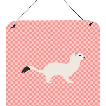 Stoat Short-tailed Weasel Pink Check Wall or Door Hanging Prints BB7872DS66