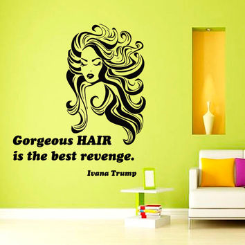 Wall Decals Vinyl Decal Quote Gorgeous Hair Beauty Salon Fashion Girl Home Vinyl Decal Sticker Kids Nursery Baby Room Decor kk95