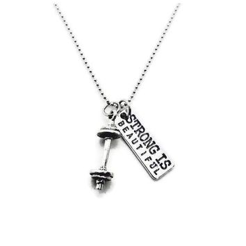 Strong Is Beautiful Barbell Necklace