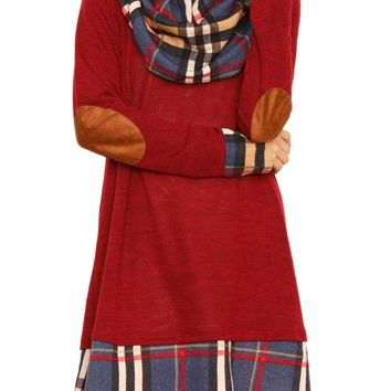 Chic Winter Red Plaid Elbow Patch Cowl Neck Dress