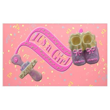 It's a Girl Pacifier Shoes Confetti Banner