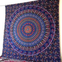 LARGE indian mandala tapestry wall hanging, hippie bohemian boho hippy bedding throw bedspread, ethnic mandala home decor art
