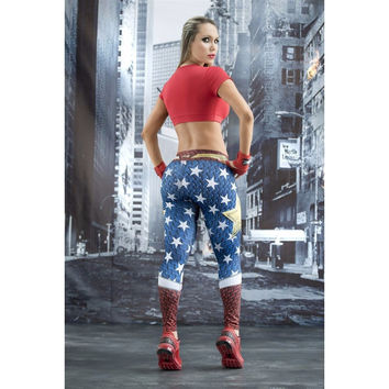 Wonder Woman Sports Fitness Leggings Yoga Pants High Waist Stretch