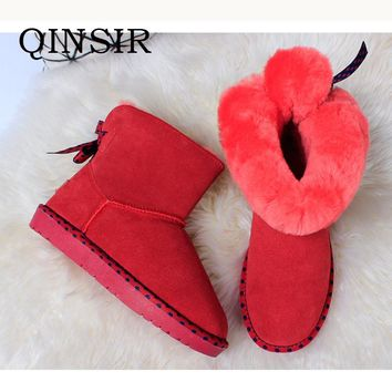 Classic Real Genuine Leather Shearling Sheep Fur Lined Winter Snow Boots For Women Female Winter Warm Shoes Waterproof Flats Hot