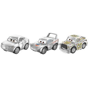 Cars 3 Diecast Micro Racers 3 pack Case D Silver King Sally Chick Hicks
