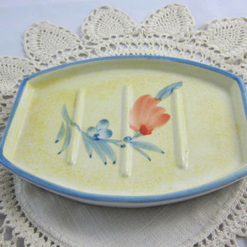 Pottery Soap Dish Made in Portugal Handpainted , Floral Soap Dish , Large Bar Soap Dish , Blue Pink Green Yellow Soap Dish