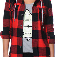 Glamour Kills The Hendersons Red & Black Hooded Flannel Jacket