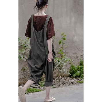 Bohemian Hippie Boho Loose Vintage Cotton Linen Overalls Vrouwen Palazzo Haren Baggy Pants Women Capri Trousers Novelty Clothing