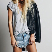 Mystery Outfit: Modern Shorts & Summer Top / Sexy Denim Grunge Outfit For Summer: All Sizes