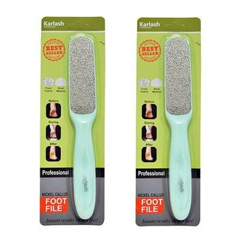 Karlash 2-Sided Nickel Foot File for Callus Trimming+Remover Mint Green (2 Packs)