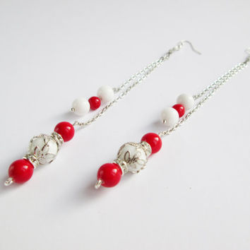 Extra long earrings Red and white Earrings with stone Earrings on a chain Coral earrings White agate earrings Chain earrings stone Earrings