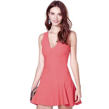 Pink V-Neck Sleeveless Skater Dress