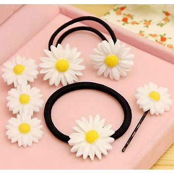 Elastic Hair Bands/Hairclips with Daisy Ponytail Braids  Hair Accessories  girl/women Gum for Hair.