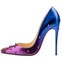 Christian Louboutin Fashion Edgy Gradient Color Rivets  Heels Shoes