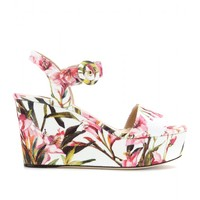 Dolce & Gabbana FLORAL-PRINT CANVAS WEDGE SANDALS