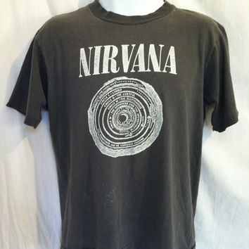 Mature Vintage NIRVANA T-shirt Rare/ Authentic Original Perfectly Worn Bleach Era Satan Worshipping Shirt/ Dante's Inferno Grunge Rock Tee