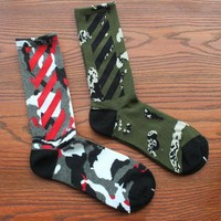 One-nice™ Fashion personality camouflage hip hop skateboard sock long tube cotton socks 2 pairs