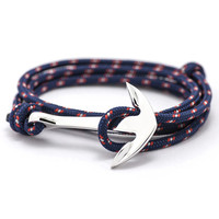 Fashion Jewelry Multilayer Risers Silver Alloy Anchor Bracelet Men Leather Bracelet for Women&Men friendship bracelets