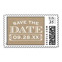 Rustic Burlap Vintage Personalized Save the Date Stamp