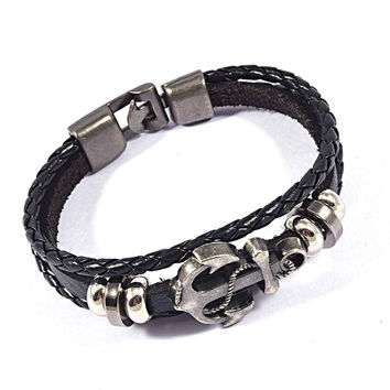 Fashion Vintage Multilayers Leather Bracelets Retro Pirate Navy Anchor Charms Braided Wrap Leather Bracelets Jewelry For Men