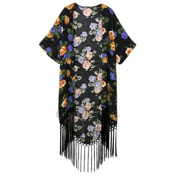 Stylish Collarless Half Sleeve Floral Print Fringed Women's Kimono Blouse